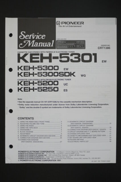 Pioneer Keh 5300   5300sdk  5200  5250 Service Manual