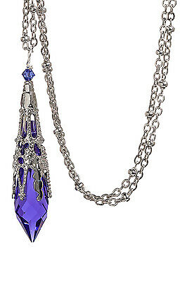 Purple Icicle Pendant Crystal Filigree Necklace 8611