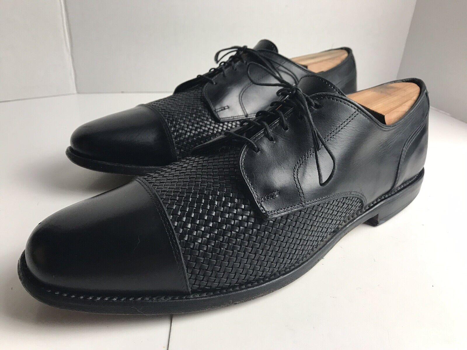 ALLEN EDMONDS Lauderdale homme noir en cuir tressé chaussures Cap Toe Taille 13 A