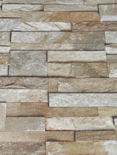 3D Slate Stone Brick Effect Wallpaper Vinyl Washable Natural Stone