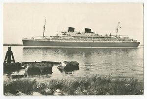 RPPC MS Willem Ruys - Achille Lauro 1948 Maiden Voyage Ocean Liner Post Card