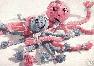 Vintage-PATTERN-INSTRUCTIONS-to-make-Braided-Yarn-Octopus-Toy-Craft-Bed-Octopus