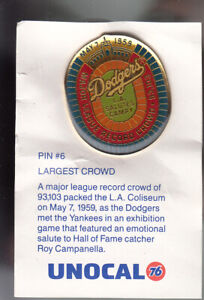 VINTAGE-L-A-DODGERS-UNOCAL-PIN-UNUSED-MLB-MAJOR-LEAGUE-RECORD-CROWD-93-103