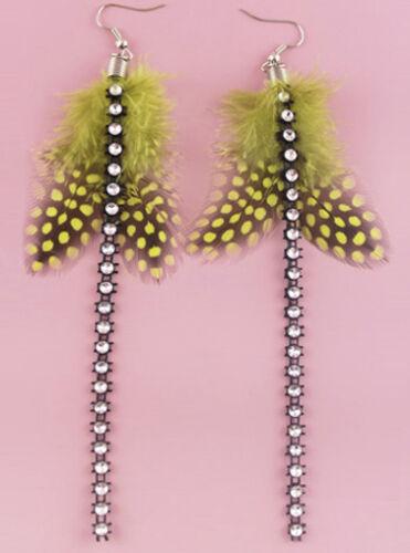 FJ300 Boucles d/'oreilles plume 12 couleurs Mignon Charme Chaîne Lumière Dangle Eardrop Hot New