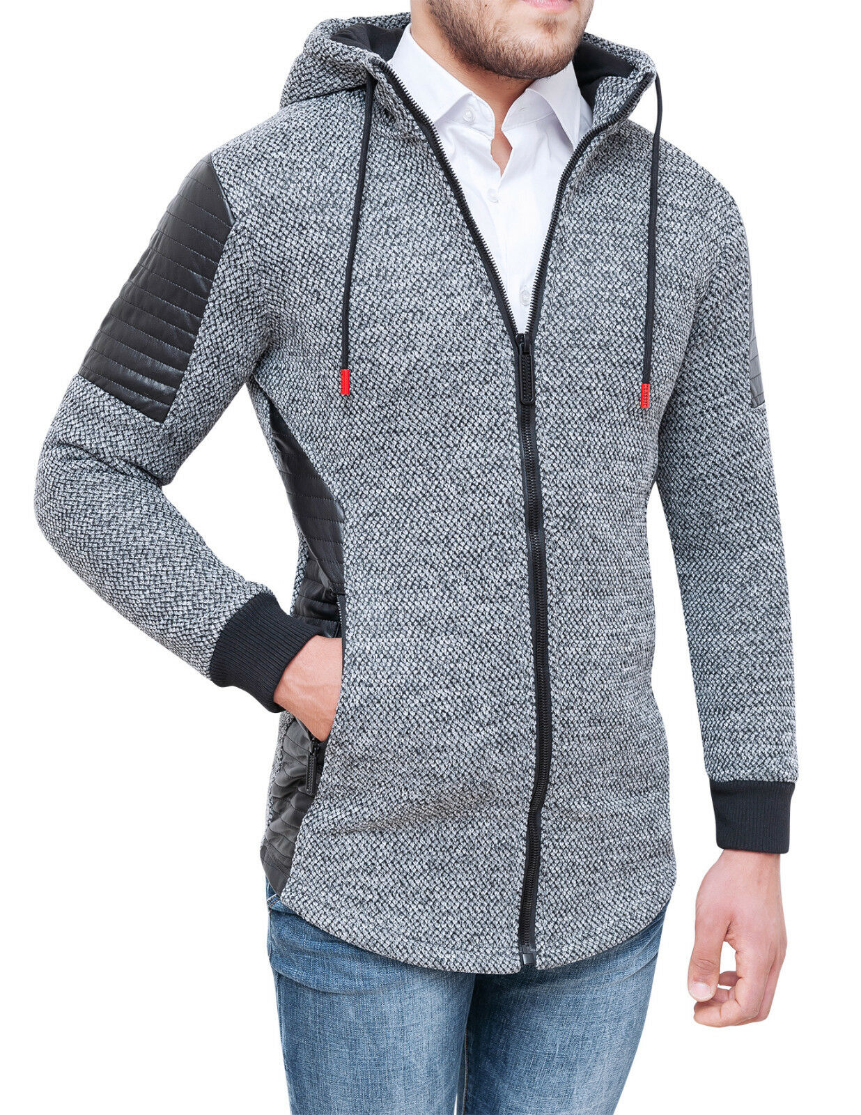 CARDIGAN VESTE HOMME TWEED grey CASUAL HIVERNAL VESTE À CAPUCHE
