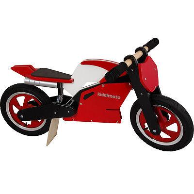 Kiddimoto Superbike Wooden Balance No Pedal Training Bike Cycle Red/White/Black