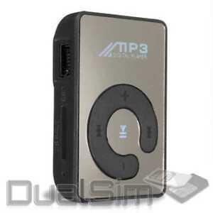 Mp3-Player-Mirror-Design-Schwarz-Mini-Clip-Sport-Micro-SD-Karte-bis-32GB-Musik