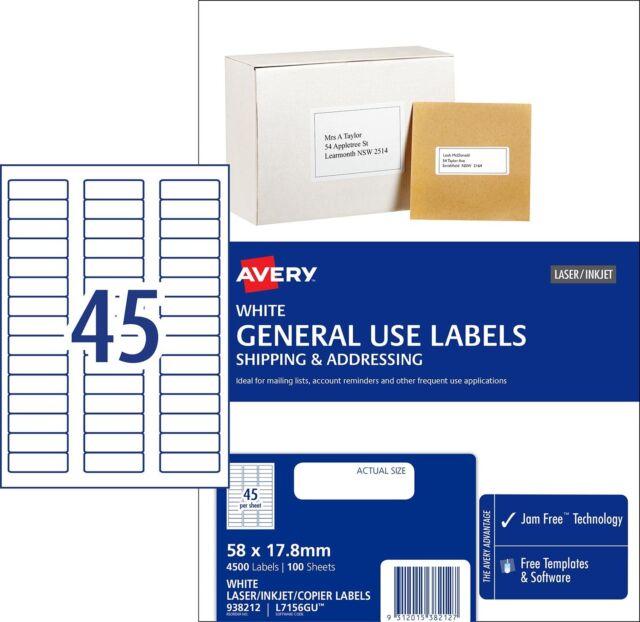 Avery 938212  Inkjet Copier Laser Labels L7156GU  45 per Sheet 100 Sheets 45 UP