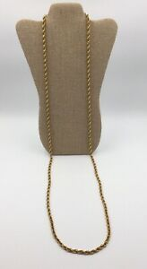 VINTAGE-MONET-LONG-GOLD-TONE-CHUNKY-TWISTED-ROPE-CHAIN-NECKLACE
