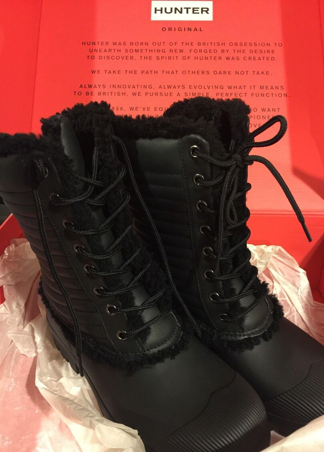 Hunter Original Genuino Shearling patente PAC Laceup botas De Lluvia Lluvia Lluvia Para Mujer 9  comprar ahora