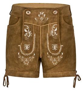 HIRSCHBERGER-Damen-Antik-Trachten-Lederhose-kurz-Ziegenleder-braun-Vintage-Used
