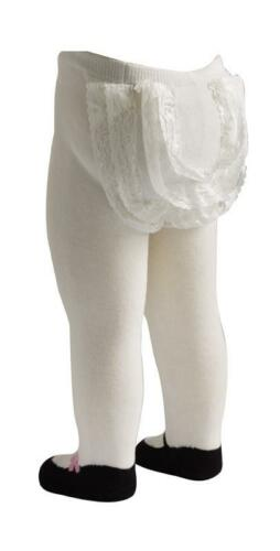 DAMAGED BOX Mary Jane Lacy Baby Tights in White