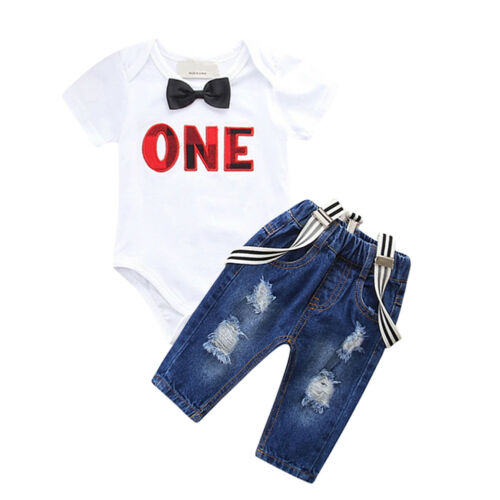 Jeans Pants Suspender Romper Outfit for Boy Toddler 1st First Birthday Party