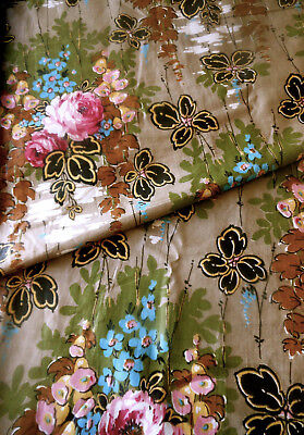 Antique Floral Roses Bird Cotton Fabric ~  Pink Olive Gray Blue Gold ~1920 //1930