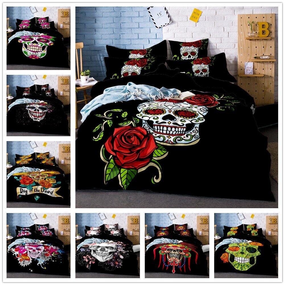 3D Skull Flowers Bedding Set Pillowcase Quilt Comforter Cover Duvet Cover pink