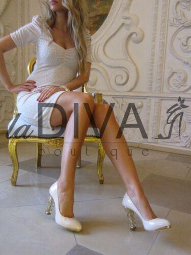 LORIBLU ~ Italy Pumps Echtes Leder 38 Acryl Absatz creme beige %SALE% OVP 349€
