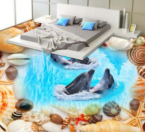 3D Playful Dolphin 2 Floor WallPaper Murals Wall Print Decal 5D AJ WALLPAPER