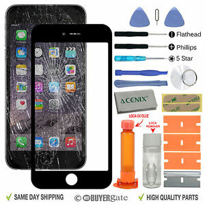 d5bfda3e293a8d Apple iPhone 7 Black Outer Front Glass Screen Replacement Repair Kit ...