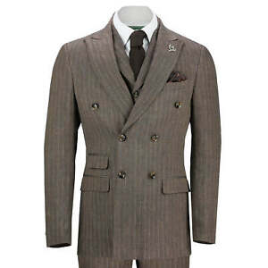 Herren Vintage Pinstripe doppelte Knopfleiste Anzug braun Herringbone Tailor Fit Jacke