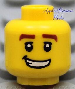 NEW Lego Police MINIFIG HEAD Male Boy w/Smile Grin -Pirates/City/<wbr/>Kingdoms/Castl<wbr/>e
