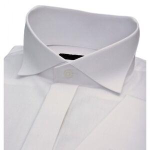 4cae1a66bf16 MENS WHITE DEEP WING COLLAR COTTON WEDDING DRESS SHIRT 15 17 1/2 18 ...