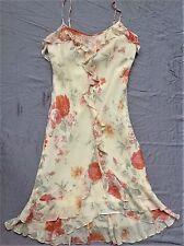 Express 100% Silk Light Yellow Orange Pink Green Flower Floral Dress Ruffle XS 2