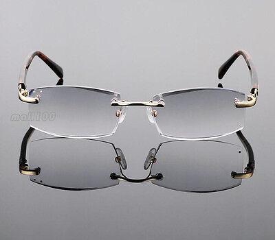 Eye Reader Grey Lens Rimless Men Reading Glasses Vintage Eyeglasses +1.00~+4.00