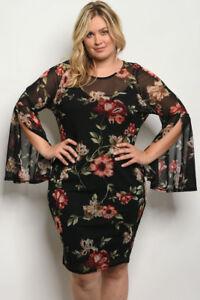 Women-039-s-Plus-Size-Black-Floral-Long-Slit-Bell-Sleeve-Bodycon-Dress-1XL-NEW