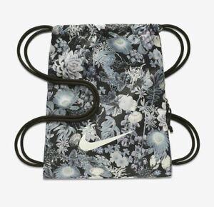 NIKE-Heritage-Gym-Sack-Bag-Floral-Print-Anthracite-White-New