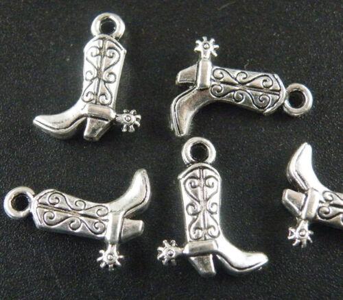 100pcs Tibetan Silver Nice Cowboy Boots Charms 17x13mm C184