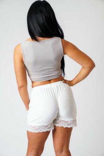 WHITE WOMEN/'S Giarrettiera Pantaloncini Super Morbido Vita Alta Orlo in Pizzo Hot Pants