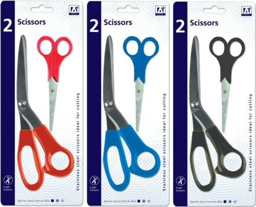 Pair of double Stainless Steel Scissors Sissors  21cm /&14cm Office Work Kitchen