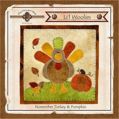 LIL WOOLIES BLOCK OF THE MONTH NOVEMBER TURKEY, From The Wooden Bear Designs NEW