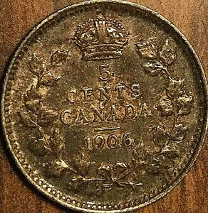 1906-CANADA-SILVER-5-CENTS-COIN-Nicer-example