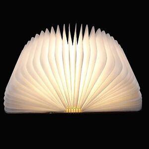 Wooden Folding Led Book Lamp Nightlight Usb Rechargeable Art Decorative Lights Ebay