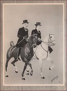 COUPLE-RIDING-SADDLE-HORSES-SIDESADDLE-by-GEORGE-FORD-MORRIS-vintage-1952