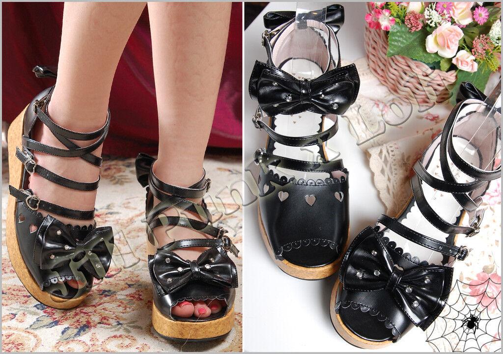 Kera Lolita Doll Bow Alice Wedge Roman Sandals 3943 JAN9977 BK