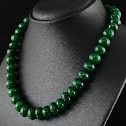 DG AMAZING 548.00 CTS EARTH MINED GREEN EMERALD ROUND SHAPE BEADS NECKLACE
