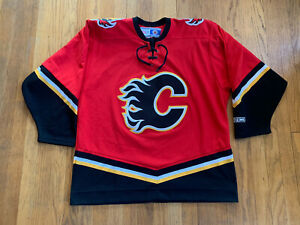 Calgary-Flames-Vintage-90-s-Air-Knit-Maska-CCM-Home-Jersey-Red-EUC-Size-L-NHL