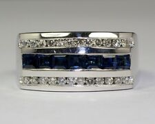 Men's 14K White Gold White Diamonds and Blue Sapphire Ring Size 9.25