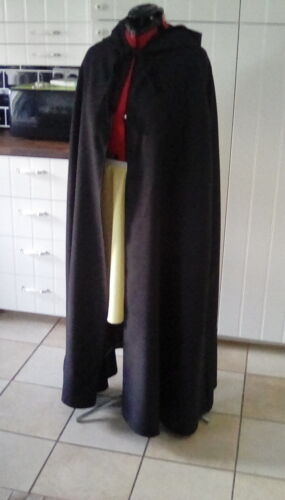 wizard witch hooded cloak black  With wine lined hood more c delux 39