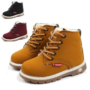 1-6T Cool Winter Warm Army Martin Boots Toddler Baby Kids Boy Girl Leather Shoes