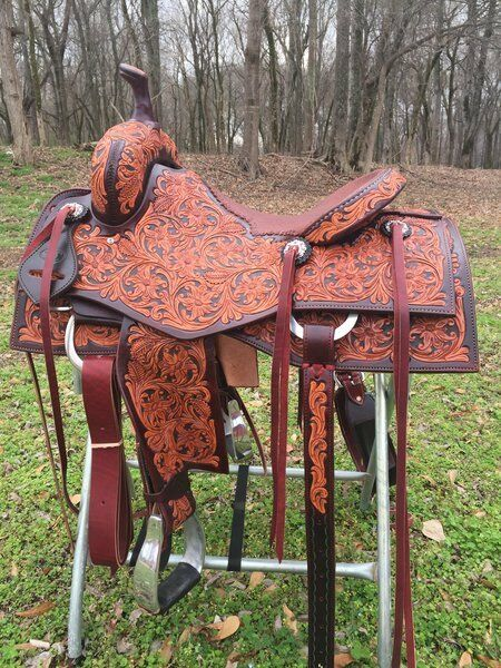Western Two Tone Leather Roper Ranch Hand Tooled and Carved Saddle 15 16 17 18