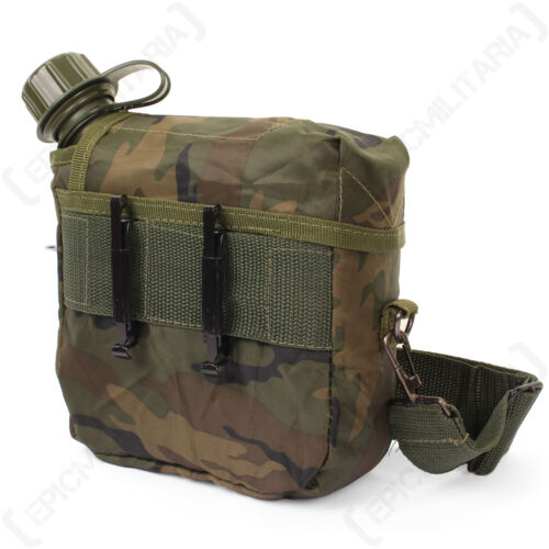 US Canteen and Cover with Shoulder Strap Camo Water Insulated Army Military