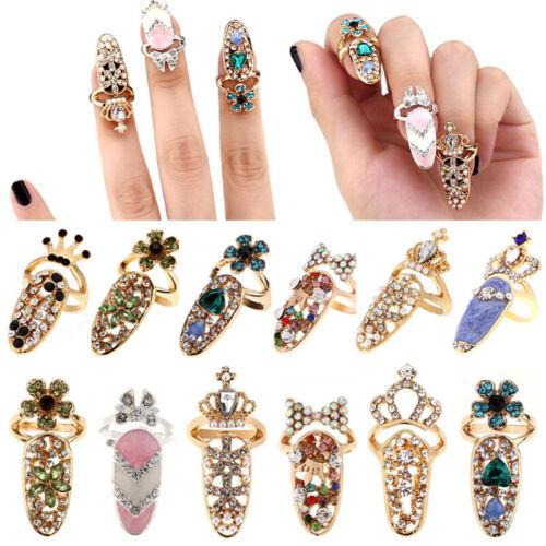 Women Fashion Bowknot Nail Ring Crown Flower Crystal Finger Rings Charm Decor