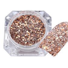 Women Girl Rose Gold Nail Art Glitter Powder Dust Acrylic UV Gel Tips Decoration