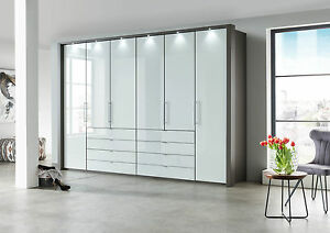 HIGH END GERMAN 100CM WARDROBE BEDROOM GREY GRAPHITE WHITE GLASS FITTED  FREE | eBay