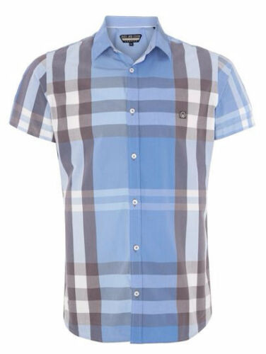 New Duck And Cover Cecil Ice Blue  Short Sleeve Casual Shirt Checked Designer