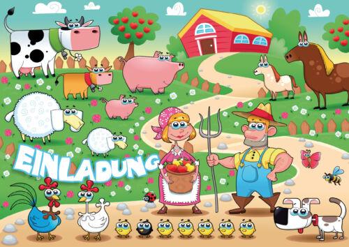 Lustige Bauernhof-Einladungskarten Kindergeburtstag mit Tieren,Geburtstag Kinder