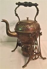 19TH C ANTIQUE ART NOUVEAU HAND CHASED BRASS TIPPING TEA KETTLE ON STAND C1890